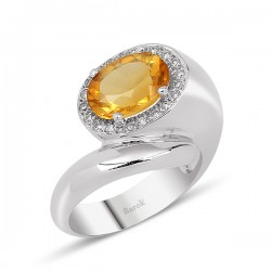 Oval Citrine'li 0.14ct 18 Ayar